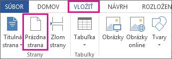 Obrázok tlačidla prázdnej strany v rámci karty Vložiť