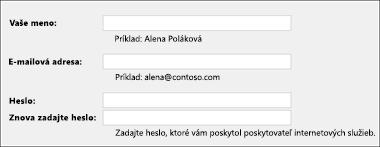 Zadanie e-mailovej adresy ahesla