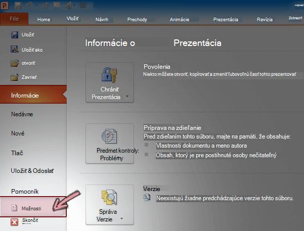 Na karte Súbor na páse snástrojmi vPowerPointe 2010 kliknite na položku Možnosti