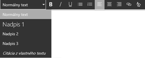 Snímka obrazovky soblasťou úprav editora formátu RTF vSharePointe.