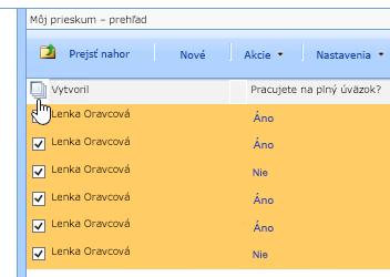 Na obrazovke Správca lokality vyberte možnosť Prieskum a kliknite na ikonu Vybrať všetko.
