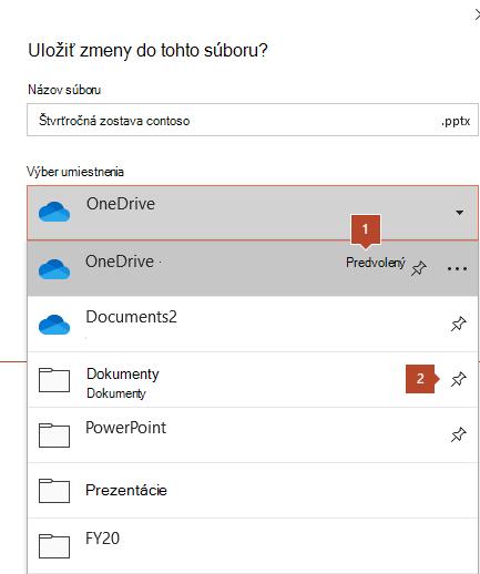Dialógové okno Uložiť v balíku Microsoft Office 365 zobrazujúce zoznam priečinkov.