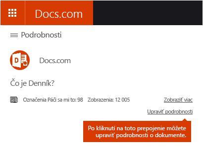 Možnosť Upraviť podrobnosti na lokalite Docs.com