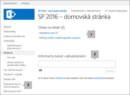 Domovská obrazovka s prepojením, webovou časťou a dokumentmi zameranými na cieľovú skupinu