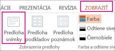 Na karte Zobraziť kliknite na položku Predloha snímky