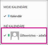 Outlook Web App svybratým kalendárom zdieľanej poštovej schránky