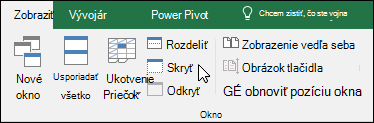 Skrytie alebo zobrazenie zošita zo zobrazenia > Windows > Skrytie a odkrytie