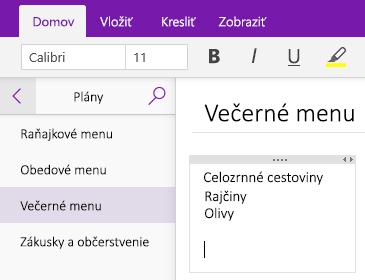 Snímka obrazovky kontajnera na poznámky na strane vo OneNote