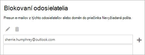 Snímka obrazovky s poľom blokovaní odosielatelia