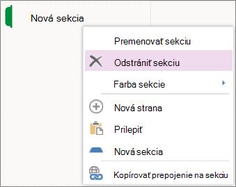 Možnosť ponuky odstránenia sekcie vo OneNote Online.