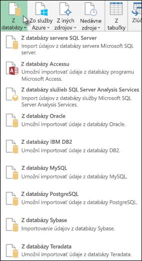 Možnosti Power Query z databázy