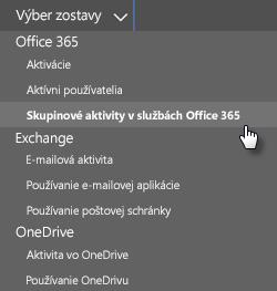 Snímka obrazovky: Výber zostavy – skupiny v službách Office 365
