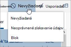 Snímka obrazovky s ponukou nevyžiadanej pošty