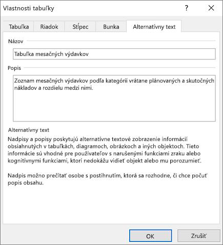 Snímka obrazovky karty Alternatívny text dialógového okna Vlastnosti tabuľky s popisom vybratej tabuľky