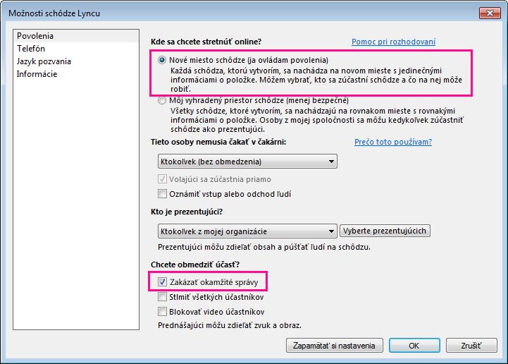 Snímka obrazovky smožnosťou Zakázať okamžité správy vokne možností schôdze cez Lync