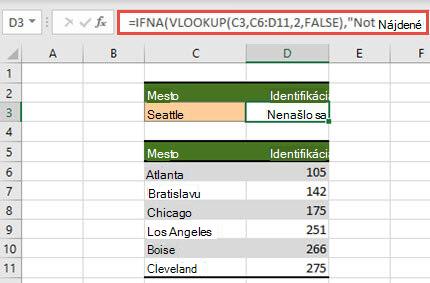 Obrázok použitia IFNA s funkciou VLOOKUP na zabránenie zobrazovania chýb v #N/A.