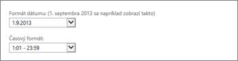 Nastavenie formátu dátumu a času v aplikácii Outlook Web App