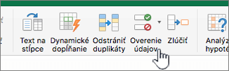 Ponuka Údaje s vybratou položkou Overenie údajov na excelovom paneli s nástrojmi
