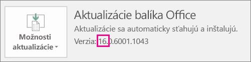 Zobrazí sa oznámenie, v ktorom sa dozviete, ktorú verziu balíka Office používate.
