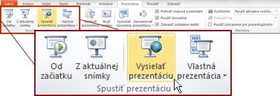 Vysielanie prezentácie v skupine Spustiť prezentáciu na karte Prezentácia v programe PowerPoint 2010.