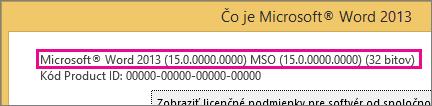 Číslo verzie balíka Office