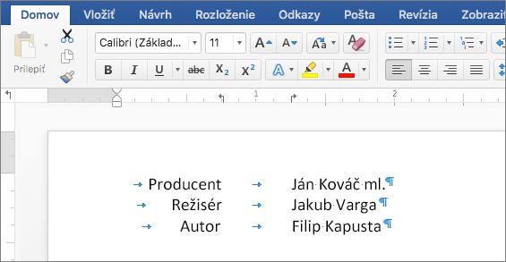 Príklad zobrazujúci text zarovnaný podľa pomocou zarážok tabulátora na pravítku.