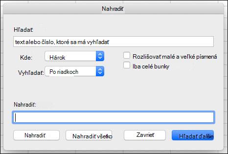 Nahradenie textu alebo čísel v zošite alebo hárku stlačením kombinácie klávesov Ctrl + H