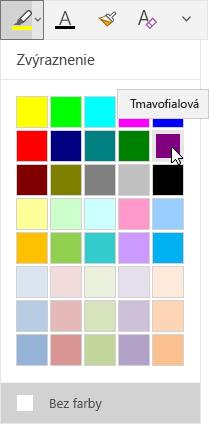 Tlačidlo zvýraznenia s rozbaľovacou ponukou, v ktorej je vybratá tmavopurpurová farba