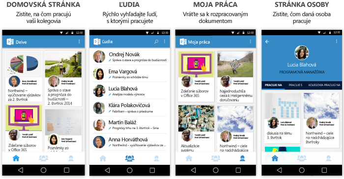 Delve pre Android – obrazovky