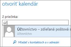 Dialógové okno Otvoriť kalendár vaplikácii Outlook Web App