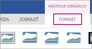 Obrázok možností na karte Formát na páse s nástrojmi Nástroje obrázkov