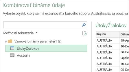 Dialógové okno Kombinovanie binárnych súborov zobrazujúce dostupné excelové hárky na výber primárneho cieľa zlučovania