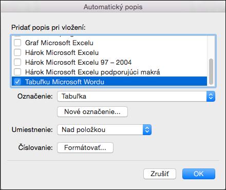 Automatické pridanie popisov k novým tabuľkám a iným vloženým objektom