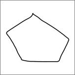 Zobrazuje päťuholník nakreslený na písanie rukou.