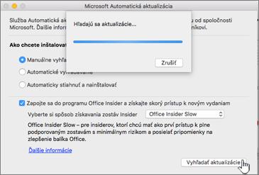 Kontrola aktualizácií úrovne Insider Slow v Macu