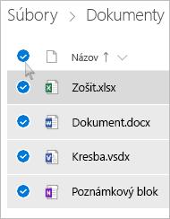 Snímka obrazovky s výberom všetkých súborov a priečinkov vo OneDrive