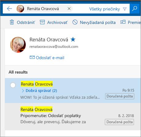 Vyhľadanie osoby na zobrazenie všetkých e-mailových správ