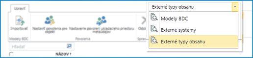 Snímka obrazovky s výberom zobrazenia katalógu údajov služby BCS.
