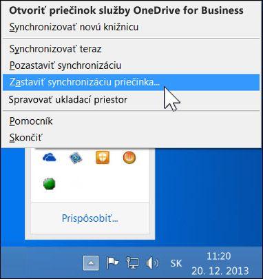 Zastavenie synchronizácie priečinka OneDrive for Business