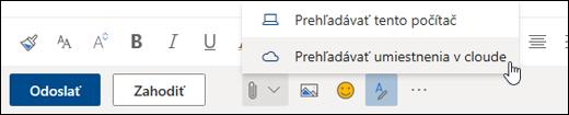 Snímka obrazovky zobrazujúca ponuku Priložiť svybratou možnosťou Cloudové umiestnenia