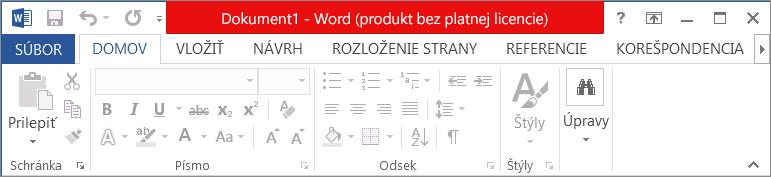 Zobrazený text Produkt bez platnej licencie v červenom záhlaví okna, vypnuté rozhranie a panel s hlásením