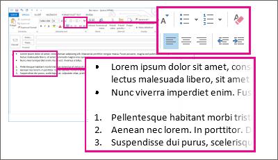 Príklady číslovaných zoznamov a zoznamov s odrážkami v správe