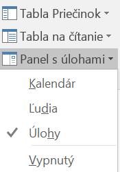 Vyberte položku Panel s úlohami