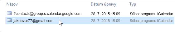 Na importovanie vyberte súbor končiaci na gmail.com.