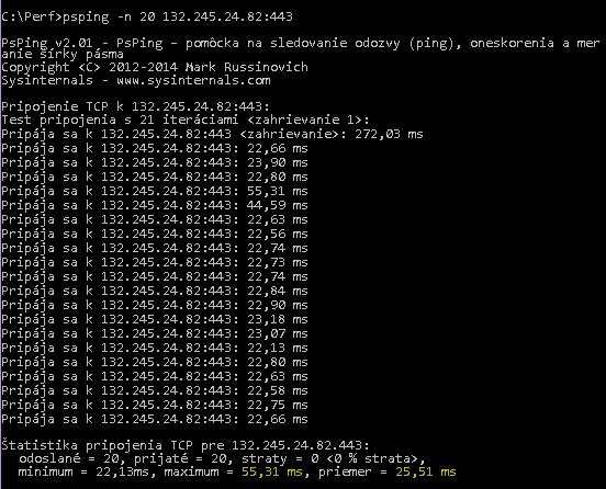 Príkaz psping -n 20 132.245.24.82:443 v nástroji PSPing vracia priemernú latenciu 25,51 milisekundy.