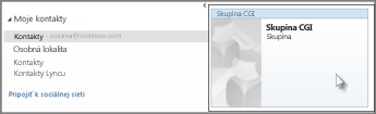 Dvojité kliknutie na skupinu kontaktov