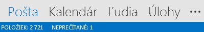 Karta Ľudia sa nachádza vdolnej časti obrazovky Outlooku.