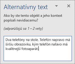 Tabla alternatívny text s príkladom alternatívneho textu vo Worde pre Windows.