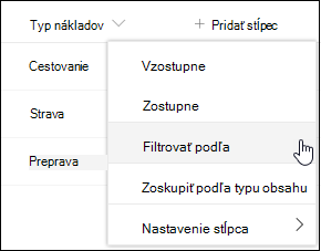 Filter záhlavia stĺpca SharePointu podľa možnosti ponuky