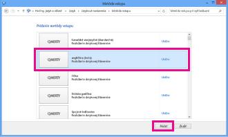 Pridanie metódy vstupu vo Windowse 8